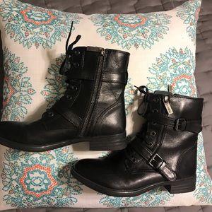 BUSSOLA Black Leather Trapani Moto Boot
